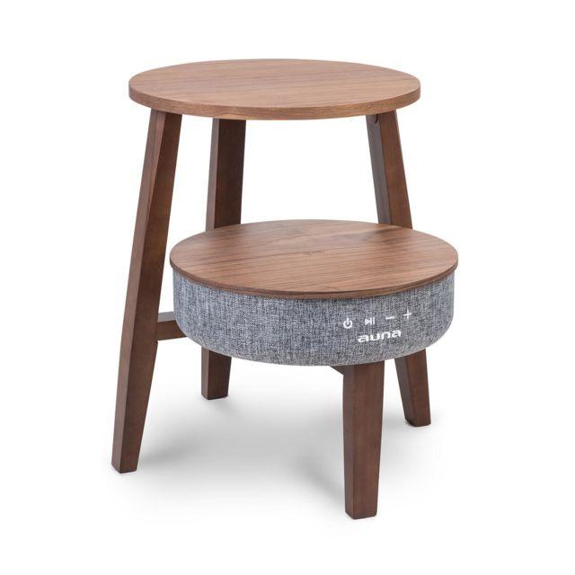 AUNA Paris Table basse avec enceinte intégrée - Connexion Bluetooth - 30W RMS - Bois marron foncé