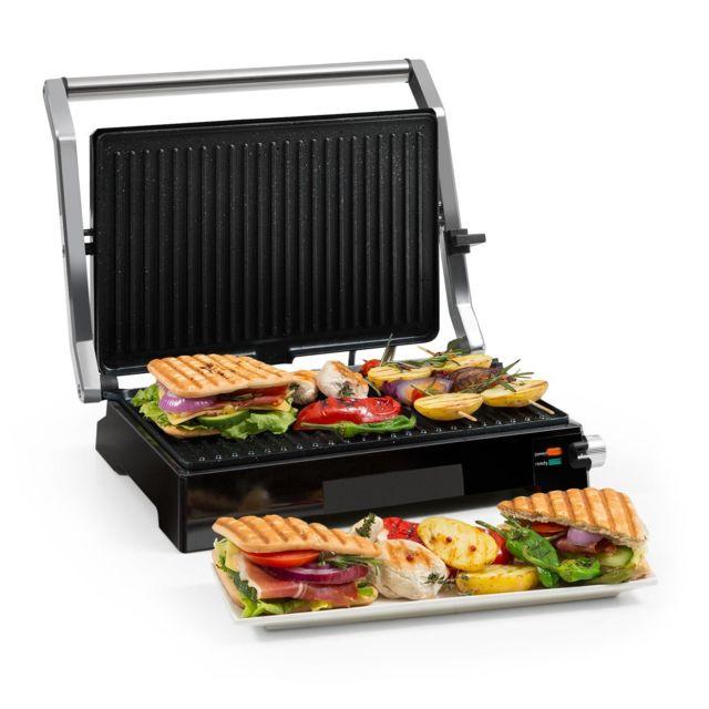 KLARSTEIN Buffalo Grill contact / presse à paninis 2000W - Revêtement anti-adhésif - Acier inoxydable - Noir