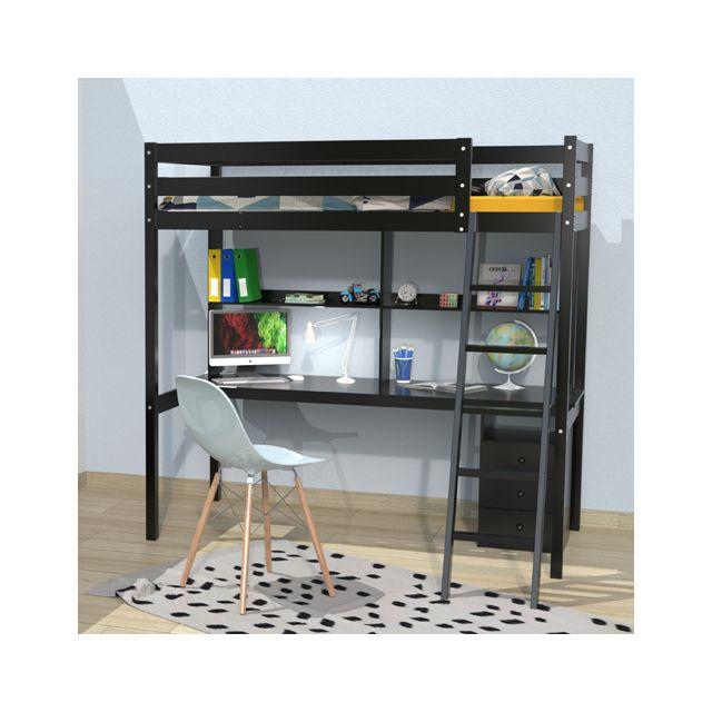 Lit Mezzanine Studio 140x190 1 Sommier Caisson 3 Tiroirs Bureau Etagere Noir