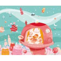 Wandpiraten - Papier Peint Mural Pour Enfants Motif Princesse De L'ESPACE Rose 4 Pans 186 X 150 Cm