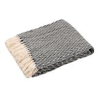 Stof - Plaid 100% coton tissage chevron noir/blanc franges 125x150cm Siouxnc