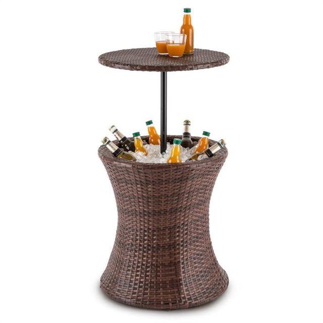 BLUMFELDT Beerboy Table de jardin & réfrigérateur à boissons Ø50cm rotin marron
