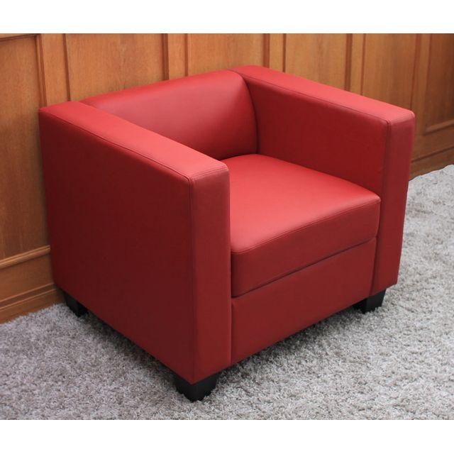Mendler Fauteuil Club / Lounge Lille, 86x75x70cm, cuir reconstitué, rouge
