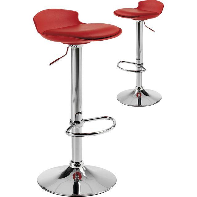 12767796e1fa93 COMFORIUM - Lot de 2 tabourets de bar rouge design assise rembourré en  polyester et dossier