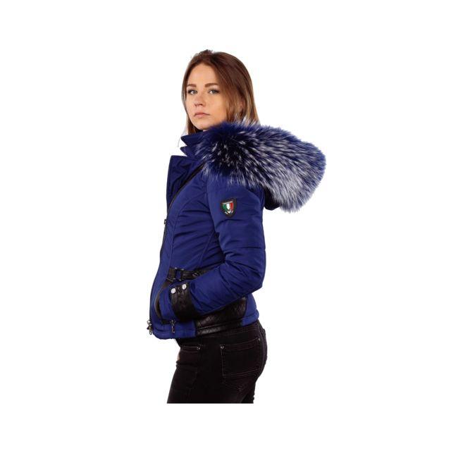 b30c836c87c ... Ventiuno - Emily - Sofia Veste doudoune Ventiuno perfecto fourrure bleu  véritable taille Max - cuir ...