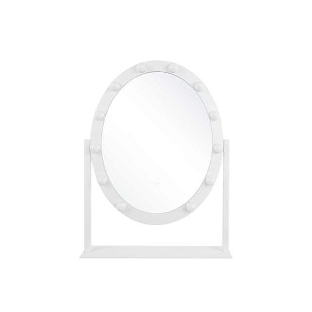 BELIANI Miroir oval blanc sur pied 50 x 60 cm ROSTRENEN - blanc