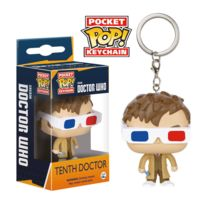 Doctor Who - Pop! Vinyl porte-clés 10th Doctor with 3D Glasses 4 cm
