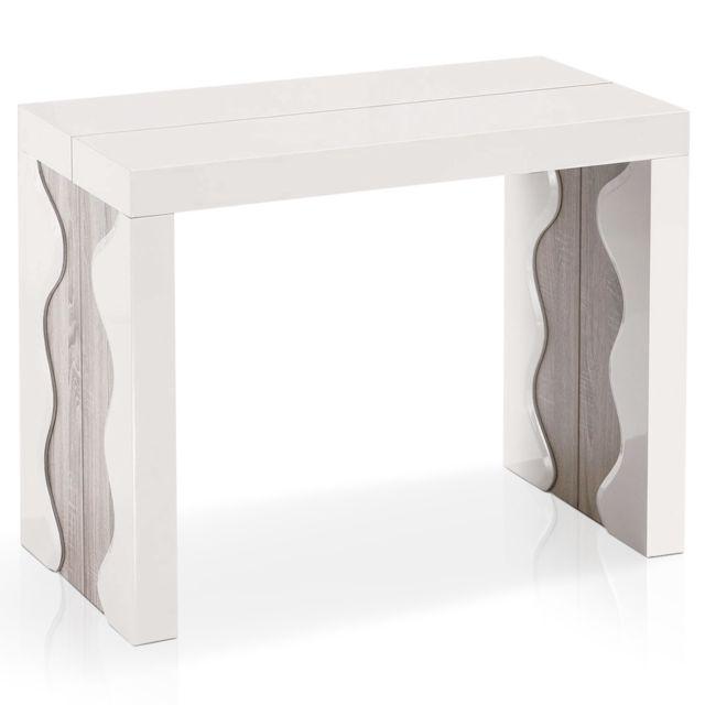 MENZZO Table Console extensible Ariel XL Laquée Ivoire & Chêne