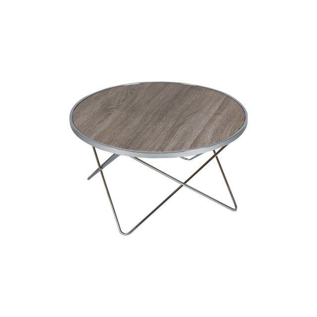 Table basse ronde en acier plateau bois Scott