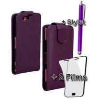 Kabiloo - Pack 3 accessoires housse films et stylet violet pour Sony Xperia Z1 Compact