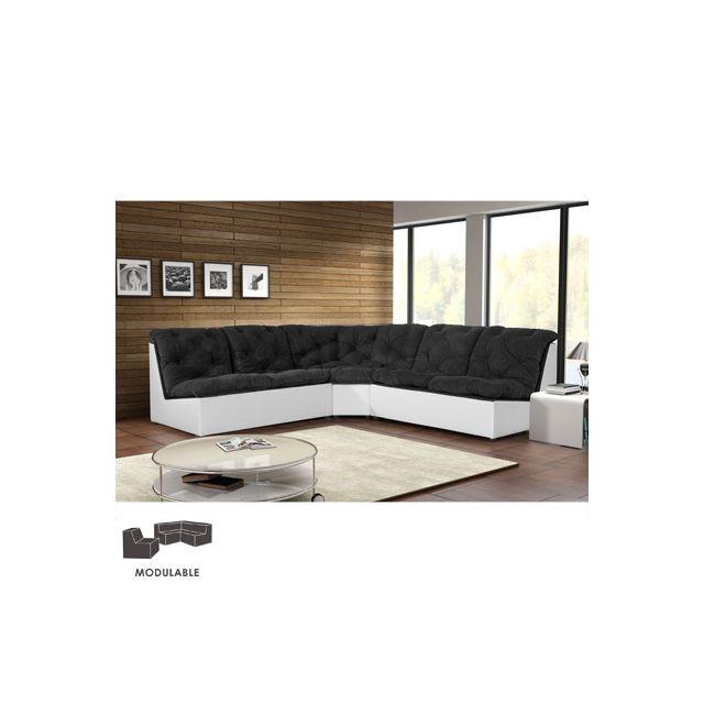 Canapé modulable 249cm en Pu et microfibre noir