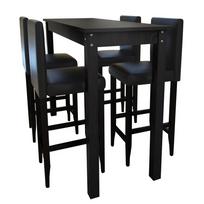 Vidaxl - Set de 1 table bar et 4 tabourets noir