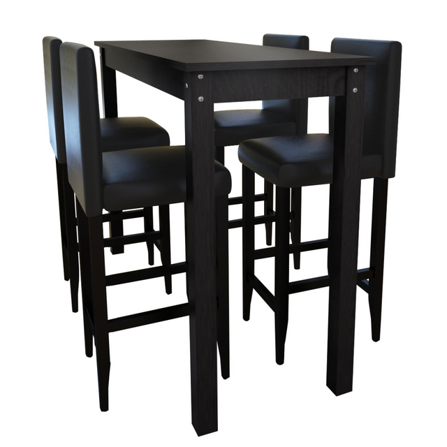 Vidaxl Set de 1 table bar et 4 tabourets noir