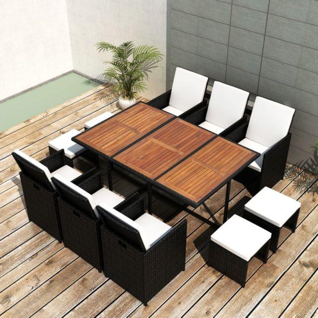 Icaverne - Ensembles de meubles d\'extérieur categorie Mobilier de jardin 27  pcs Noir Bois d\'acacia Résine tressée