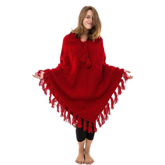 Fantazia Pancho rouge pure laine douce du Nepal
