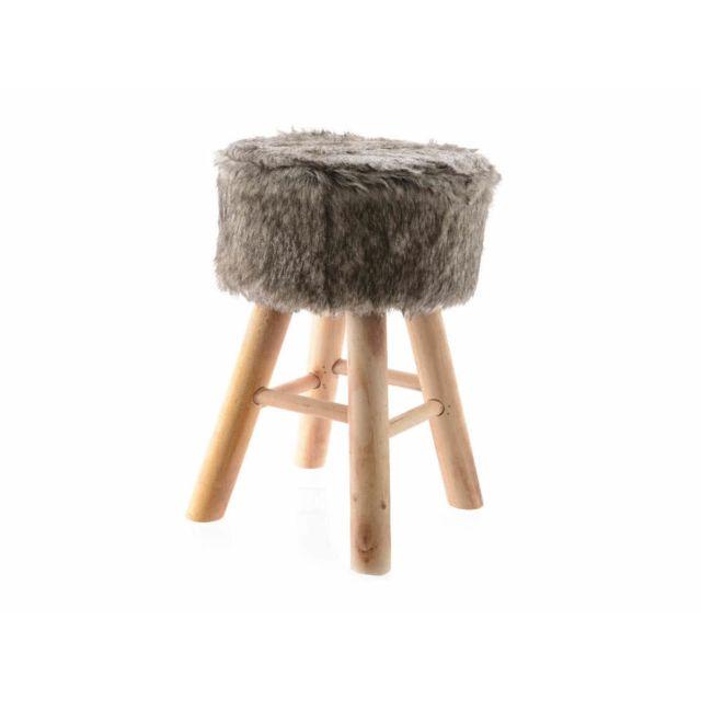 axe design tabouret en bois de sapin naturel et fausse fourrure diam tre 28cm beige pas cher. Black Bedroom Furniture Sets. Home Design Ideas
