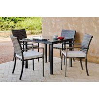 "Hevea Jardin - Hevea - Table de jardin ""Rimini"" 90 cm + 4 fauteuils avec coussins blancs cassés"