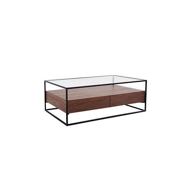 Table basse 2 tiroirs en verre trempé bois et métal - Aspen