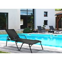 Dedans Dehors - Chaise longue empilable Zen en aluminium gris et Noir