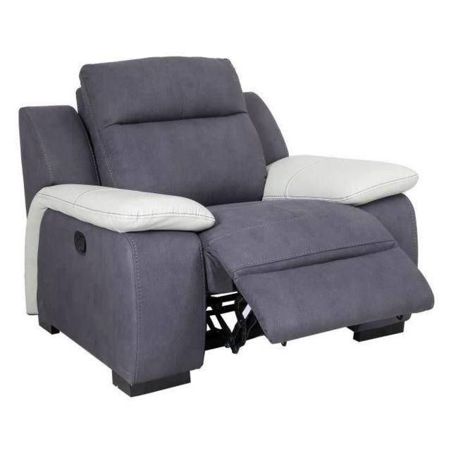 FAUTEUIL JACOB Fauteuil de relaxation - Tissu gris et accoudoirs cuir blanc - Contemporain - L 114 x P 101 cm