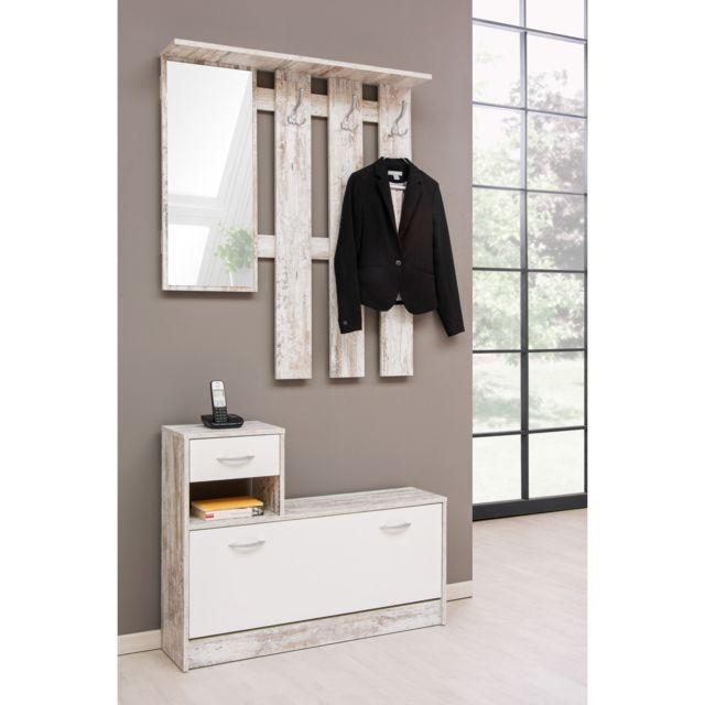 TOPDECO Meuble d'entrée vestiaire + miroir