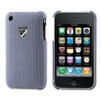 Cremieux - Coque arriere tissus lignes bleues et blanches film protection ecran inclus iPhone 3g 3gs