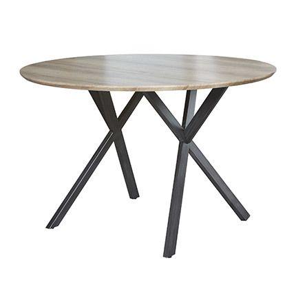 Table à manger ronde diam 120cm Mdf et acier - décor chêne