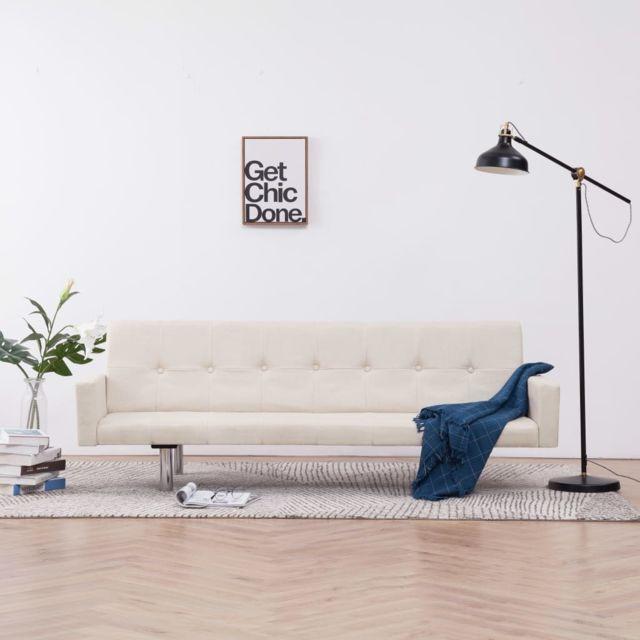 Vidaxl Canapé-lit avec accoudoir Crème Polyester