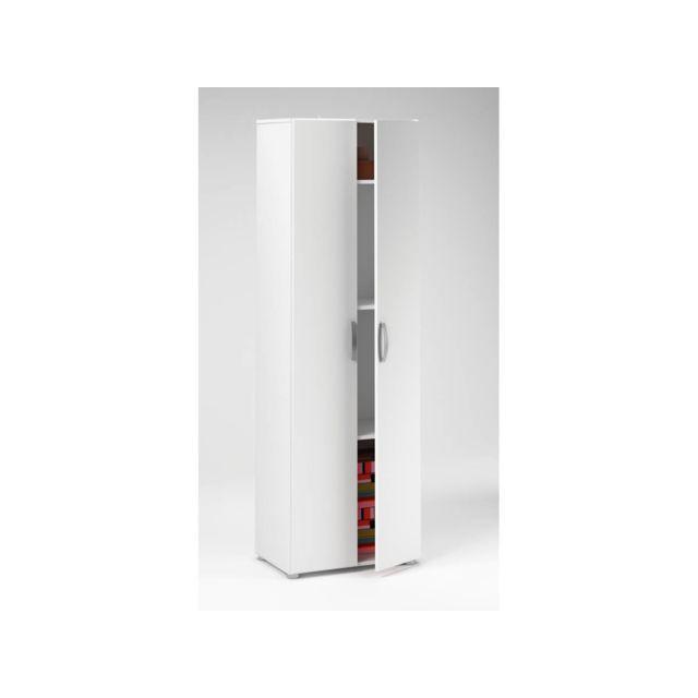 HABITAT ET JARDIN - Armoire Cobi - 68 x 34 x 175 cm - Blanc