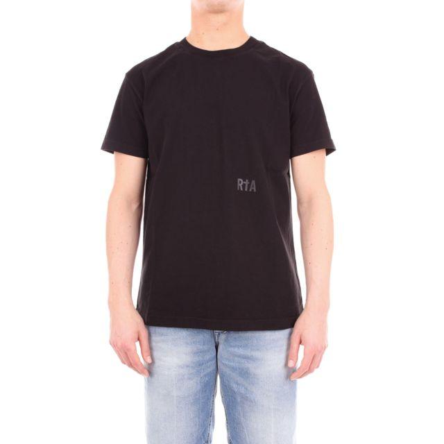 Rta Homme Mf894BLACK Noir Coton T-shirt