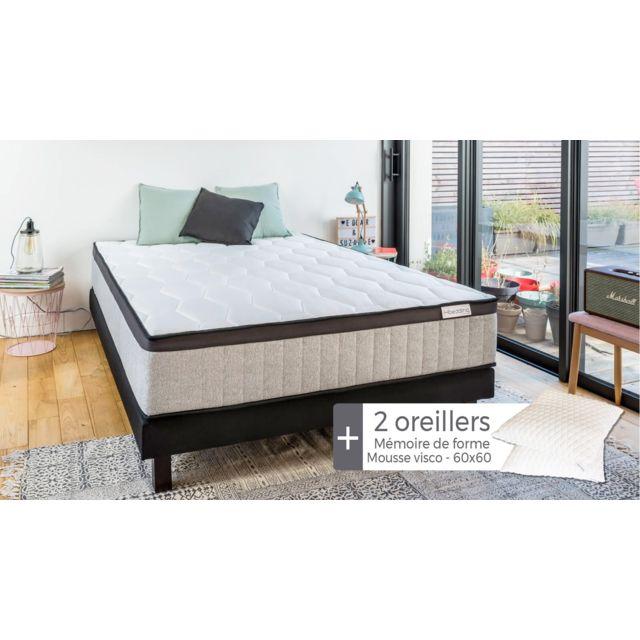 HBEDDING Matelas mémoire de forme Spring Memo Royal 160x200 + 2 oreillers à mémoire de forme 60x60cm