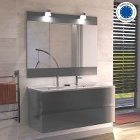 Creazur - Meuble salle de bain double vasque Rosaly 120 - Gris brillant