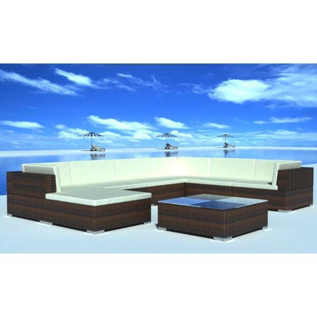 VIDAXL Jeu de meuble de jardin 24 pcs Marron Résine tressée | Brun