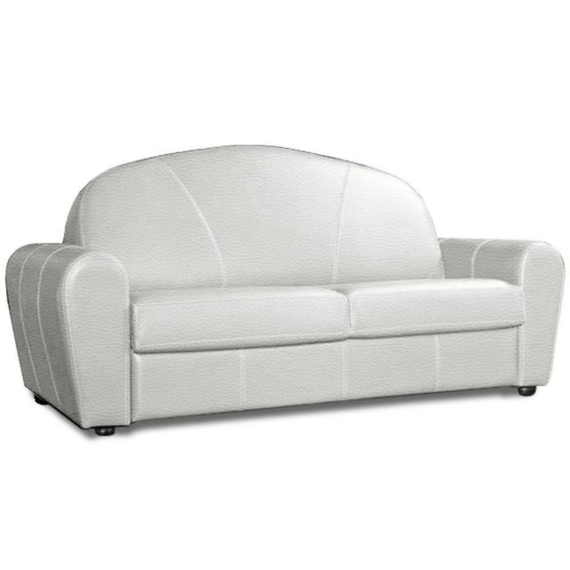 inside 75 canap lit club deluxe convertible rapido 120 cm sommier lattes cuir blanc cass. Black Bedroom Furniture Sets. Home Design Ideas