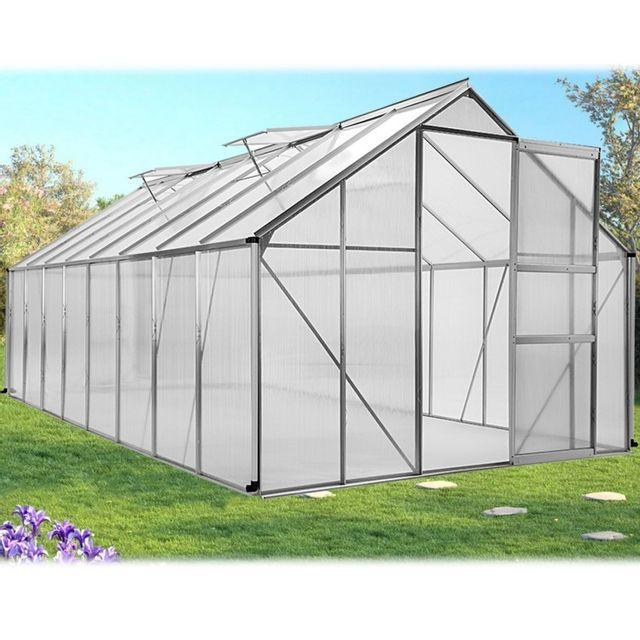 IDMARKET - Serre de jardin aluminium polycarbonate 12.25m² 4.90x2 ...
