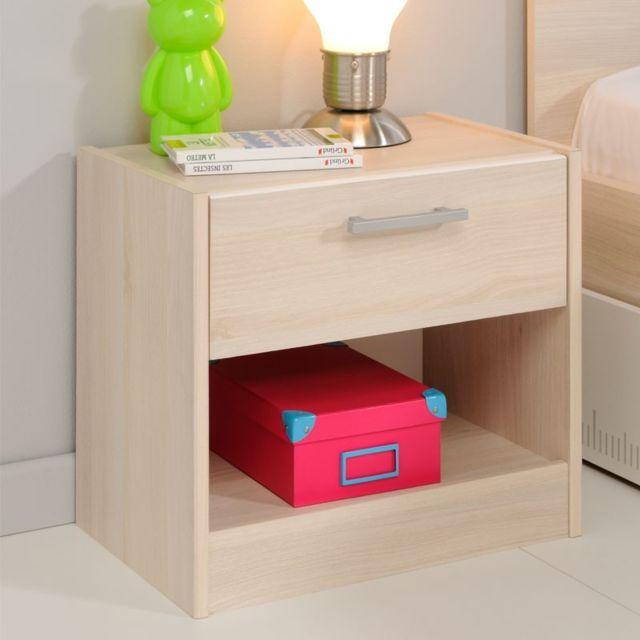 tousmesmeubles table de chevet 1 tiroir 1 niche acacia. Black Bedroom Furniture Sets. Home Design Ideas