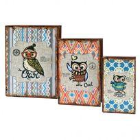 Mobili Rebecca - Lot 3 Boites de rangement Livre Bois Pvc Beige Vintage Idee Cadeau