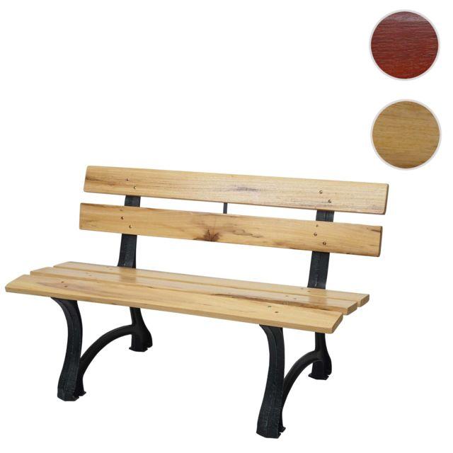 Mendler Banc de jardin Hwc-f96, banc du parc, banquette en bois, fonte ~ 3 places, 170cm marron clair
