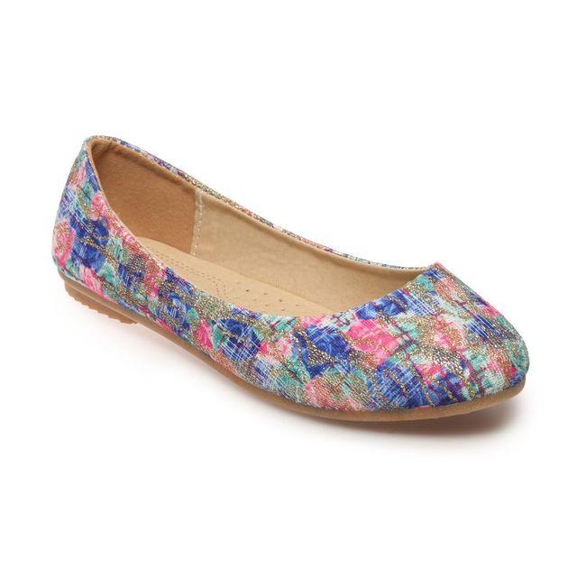 65cdb3983cafde Lamodeuse - Ballerines florales bleues avec paillettes - pas cher ...
