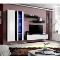 Asm-mdlt - Ensemble meuble Tv mural Fly-a noir et blanc avec Led