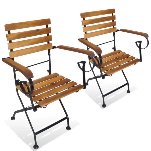 Chaises pliables de jardin 2 pcs Acier et bois d\'acacia solide