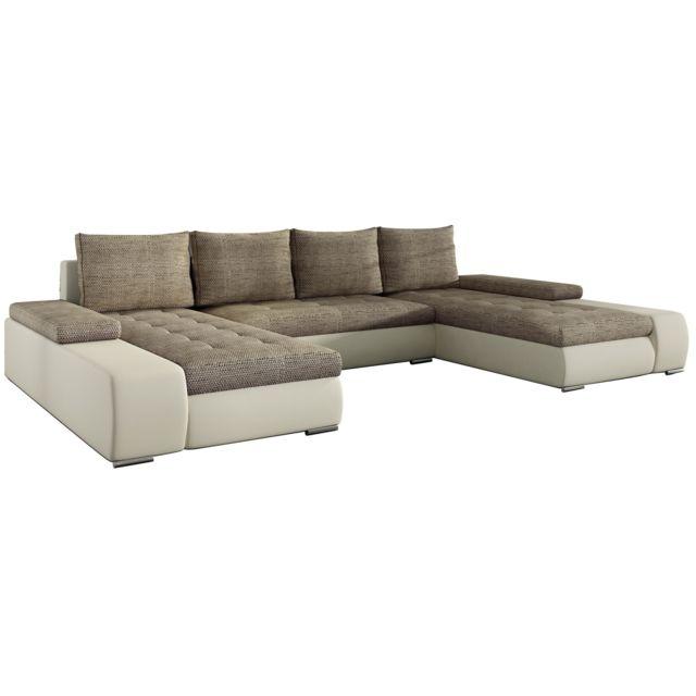 COMFORIUM - Canapé d angle convertible 5 places en tissu et pvc beige avec  coffre 83ee1e7a6fe6