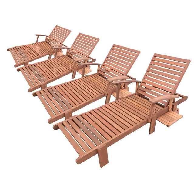 HABITAT ET JARDIN Bain de soleil pliant en bois exotique Tokyo - Maple - Marron clair - Lot de 4