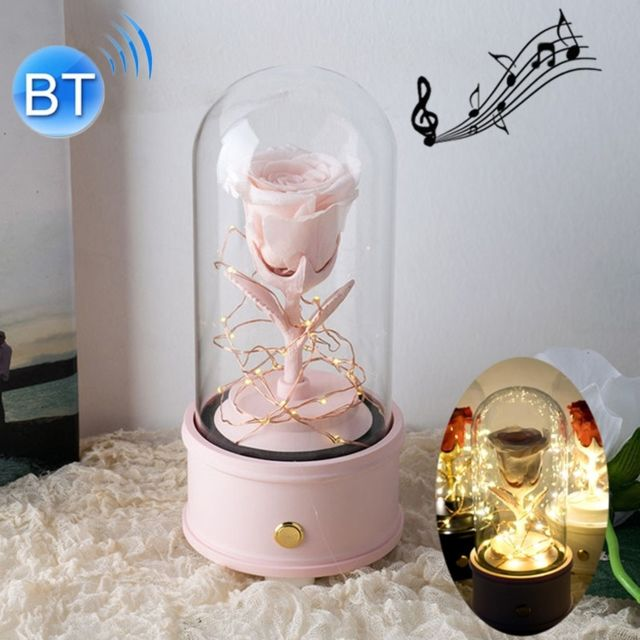 Wewoo Fleurs Artificielles Creative Single Rose Eternal Flower Glass Cover Night Light Gift BoxBluetooth Version Pink