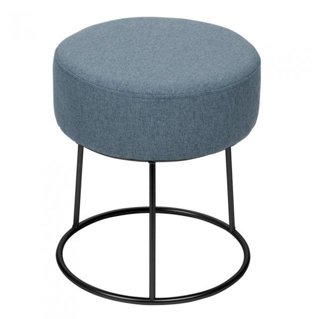 TABLE PASSION Pouf Jasper 40 cm Gris-Bleu