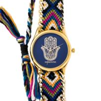 1eb88a9b73 Manoush - Montre Femme Cadran 35mm En Steel Bleu Et Bracelet Multicolore En  Tissu Et Chaîne