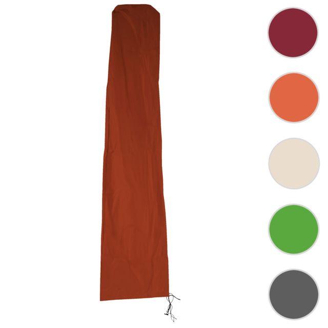 Mendler Housse de protection Hwc pour parasol jusqu'à 4,3 m 3x3 m gaine de protection avec zip ~ terre cuite