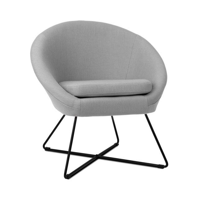 BESOA Emily Chaise rembourrée de mousse - Revêtement polyester - Pieds acier - Design rétro gris
