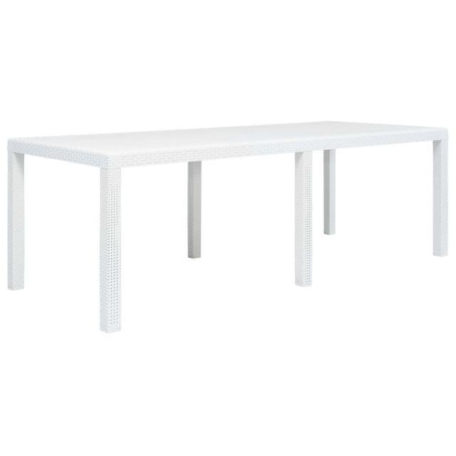 Vidaxl Table de jardin Blanc 220x90x72 cm Plastique Aspect de rotin