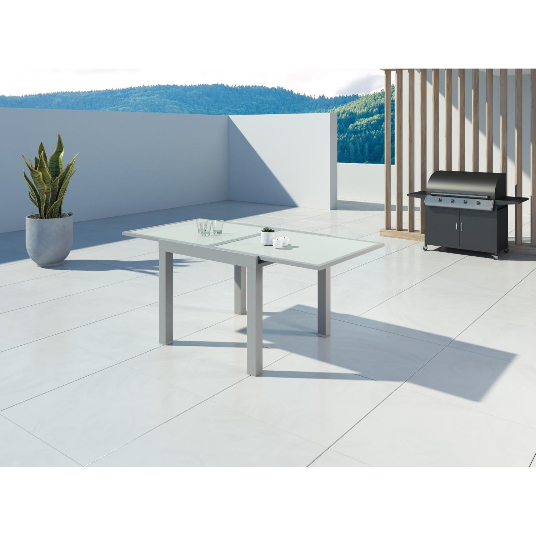 Hara - Table de jardin extensible aluminium 90/180cm + 6 fauteuils textilène Argentée